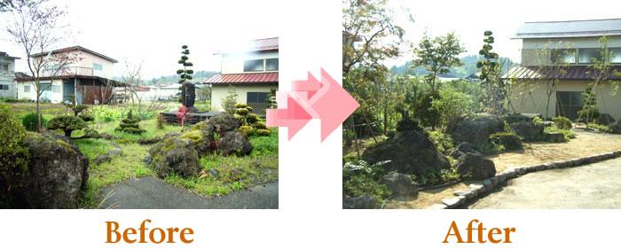 七・五・三石組のある庭
