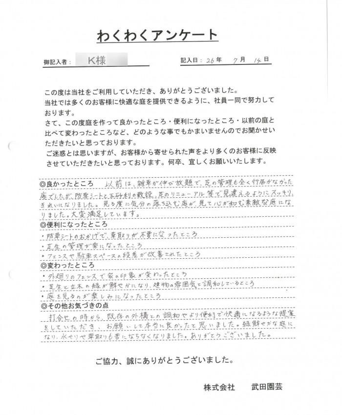 門脇 宏樹様アンケート
