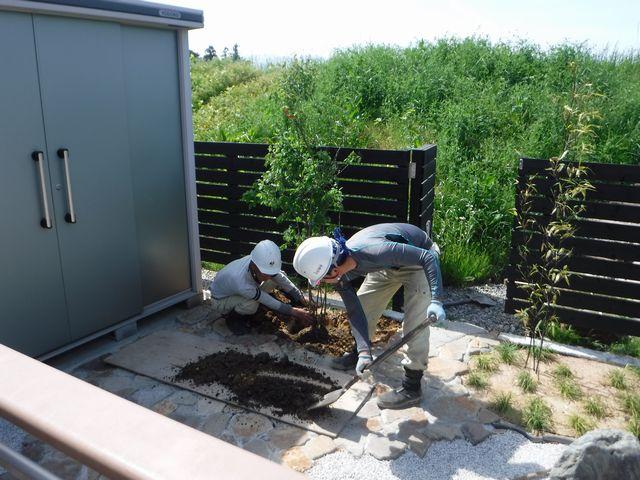山形市T様邸の作庭工事の続き。