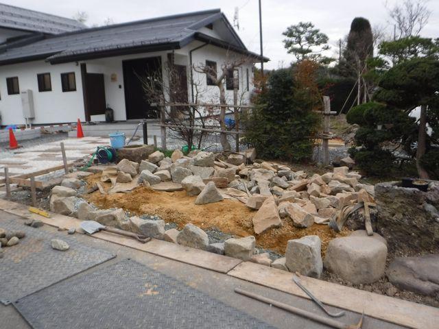 東根市Y様邸の庭園改修工事の続き