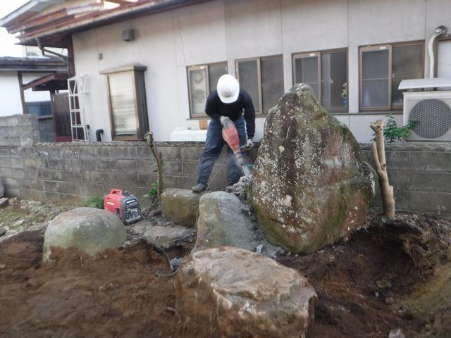 天童市S様邸の作庭工事が始まりました。